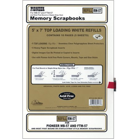 Postbound 5 Inch by 7 Inch White Top Loading Refill Pack, Acid free lignin free and PVC emission free By Pioneer From