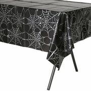 "Silver Webs 54"" x 108"" Plastic Tablecloth"