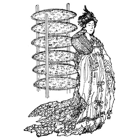 Xi Ling Shi  Fl 2640 Bc  Nchinese Empress Of Huang Di Xi Ling Shi Beside Trays Of Silkworms The Empress Is Credited By The Chinese With The Invention Of The Loom And Silk Reeling And According To Lege
