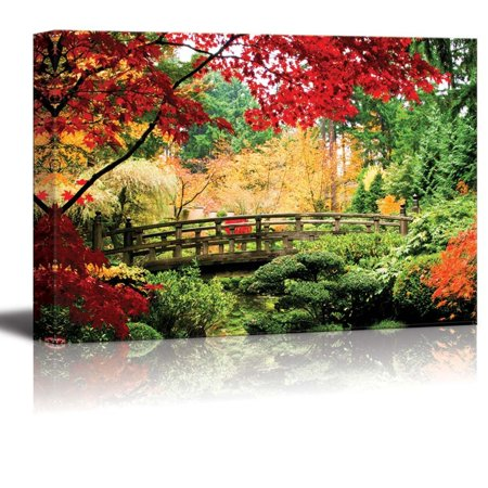 wall26 Canvas Prints Wall Art - A Bridge in an Asian Garden During Fall Season.   Modern Wall Decor/Home Decoration Stretched Gallery Canvas Wrap Giclee Print. Ready to Hang - 24