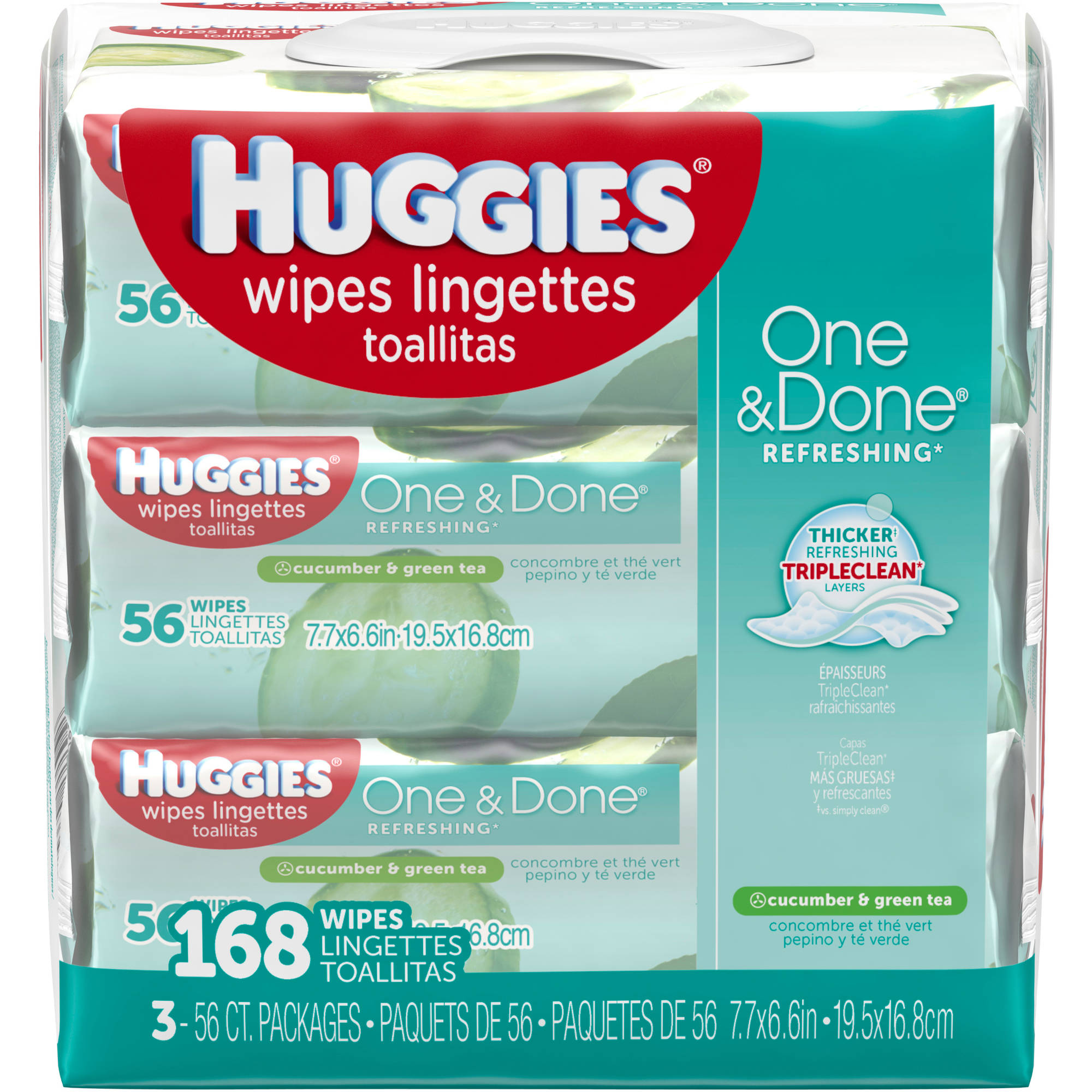 HUGGIES One & Done Refreshing Cucumber & Green Tea Baby Wipes, 56 sheets, (Pack of 3)