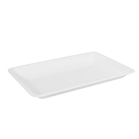 Catering Serving Trays - Fineline Settings 3518-WH, 12x18-Inch Platter Pleasers White Plastic Rectangular Trays, Serving Catering Plates, Disposable Display Dishes, 20-Piece Case