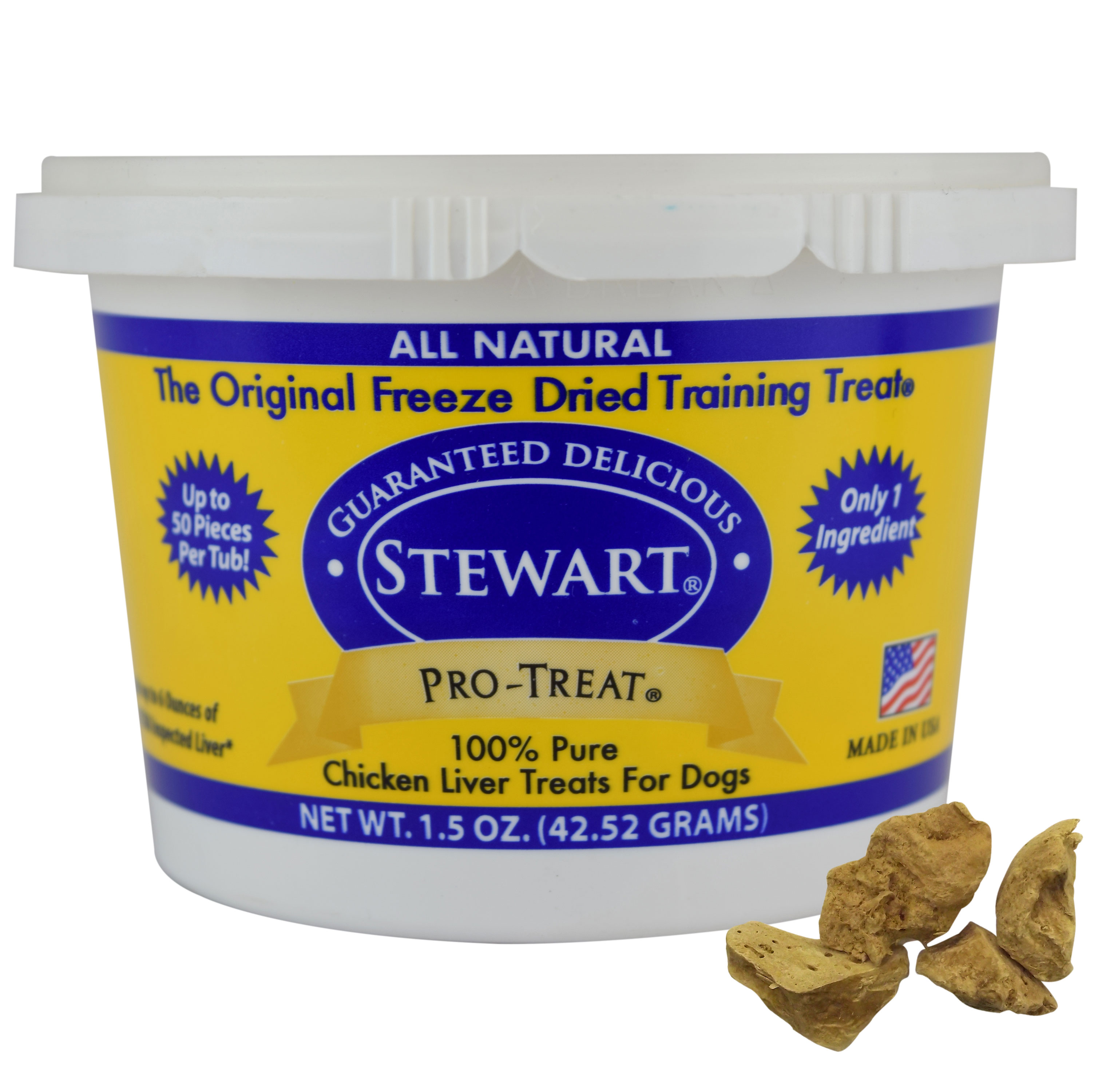 Stewart Freeze Dried Chicken Liver by Pro-Treat 1.5 oz. Tub