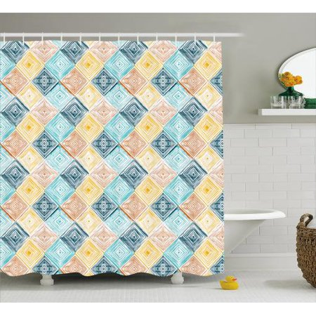 Geometric Shower Curtain Hand Drawn Style Rhombus Pattern In Pastel Colors Simple Tie Dye Tile
