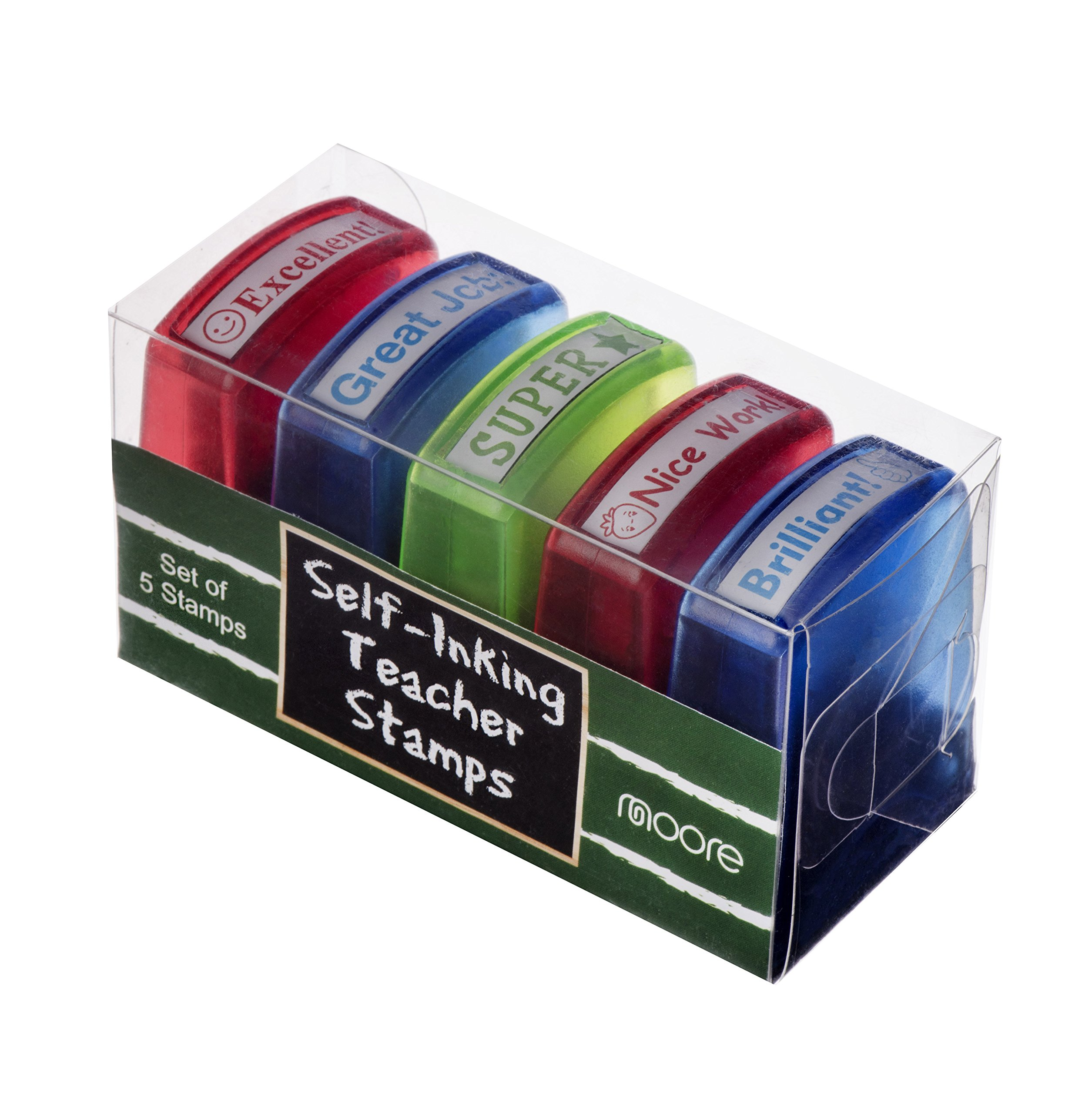 Moore Art 5 Piece Colorful Self-Inking Motivation School Grading Teacher Stamp Set