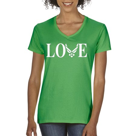 New Way 142 - Women's V-Neck T-Shirt Love Air Force Military (Air Tee)