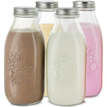 Estilo Dairy Reusable Glass Milk Bottles With Metal Lids, 33.8 oz, Set of 4.