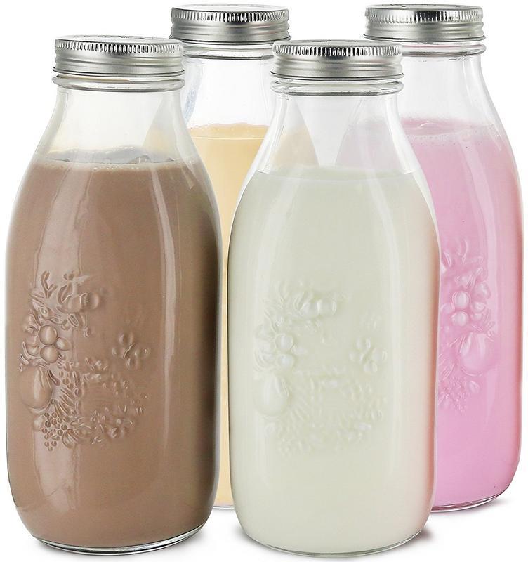Estilo Dairy Reusable Glass Milk Bottles With Metal Lids, 33.8 oz, Set of 4.