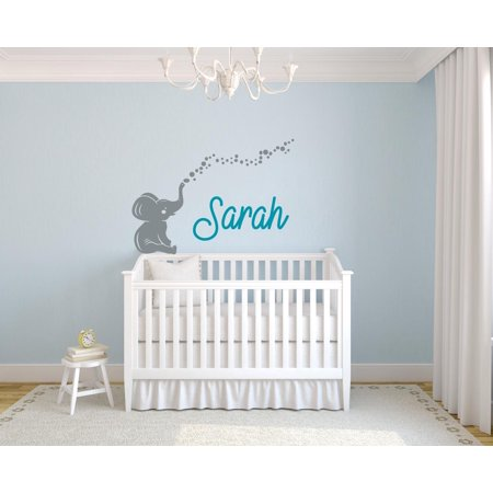 - Personalized Name Vinyl Decal Sticker Custom Wall Art Elephant Bubbles Unisex Girl Boy Nursery Room Removable Decor Art 16 Inches X 20 Inches