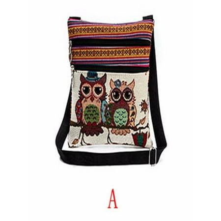 Embroidered Handbag Tote Purse (Embroidered Owl Tote Bags Women Shoulder Bag Handbags Postman Package )