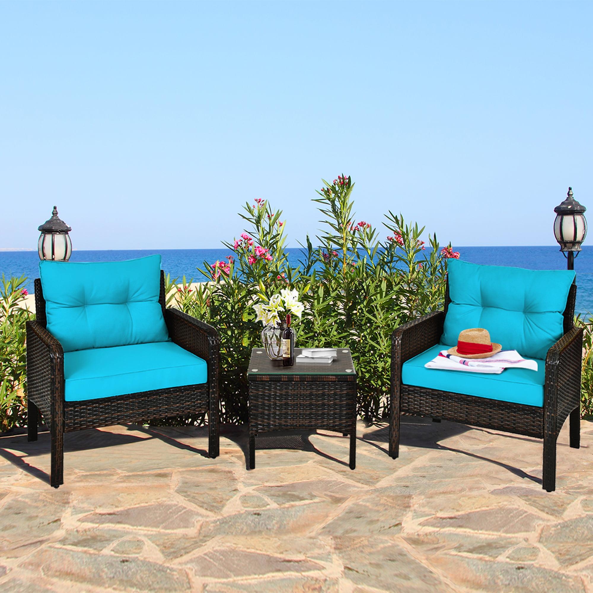Gymax 3PCS Patio Outdoor Rattan Furniture Set w/ Coffee ...