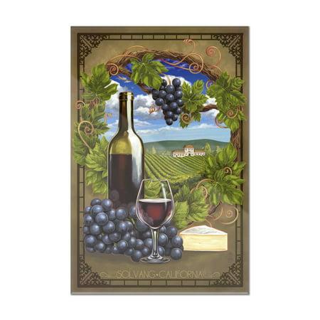 Solvang, California - Pinot Noir - Lantern Press Poster (8x12 Acrylic Wall Art Gallery Quality)