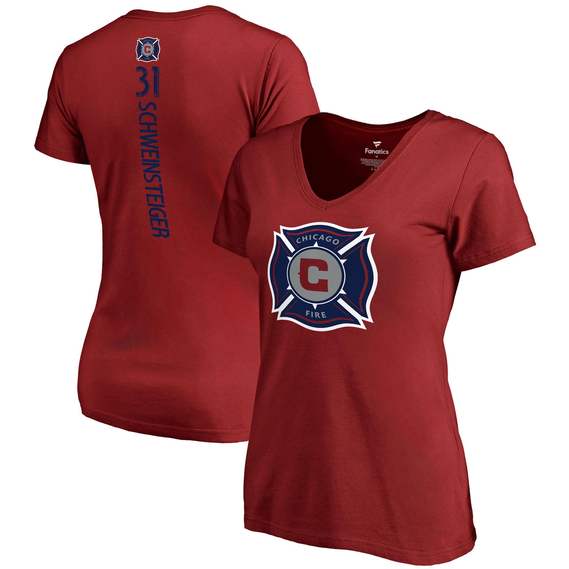 Bastian Schweinsteiger Chicago Fire Fanatics Branded Women's Backer Name & Number V-Neck T-Shirt - Red