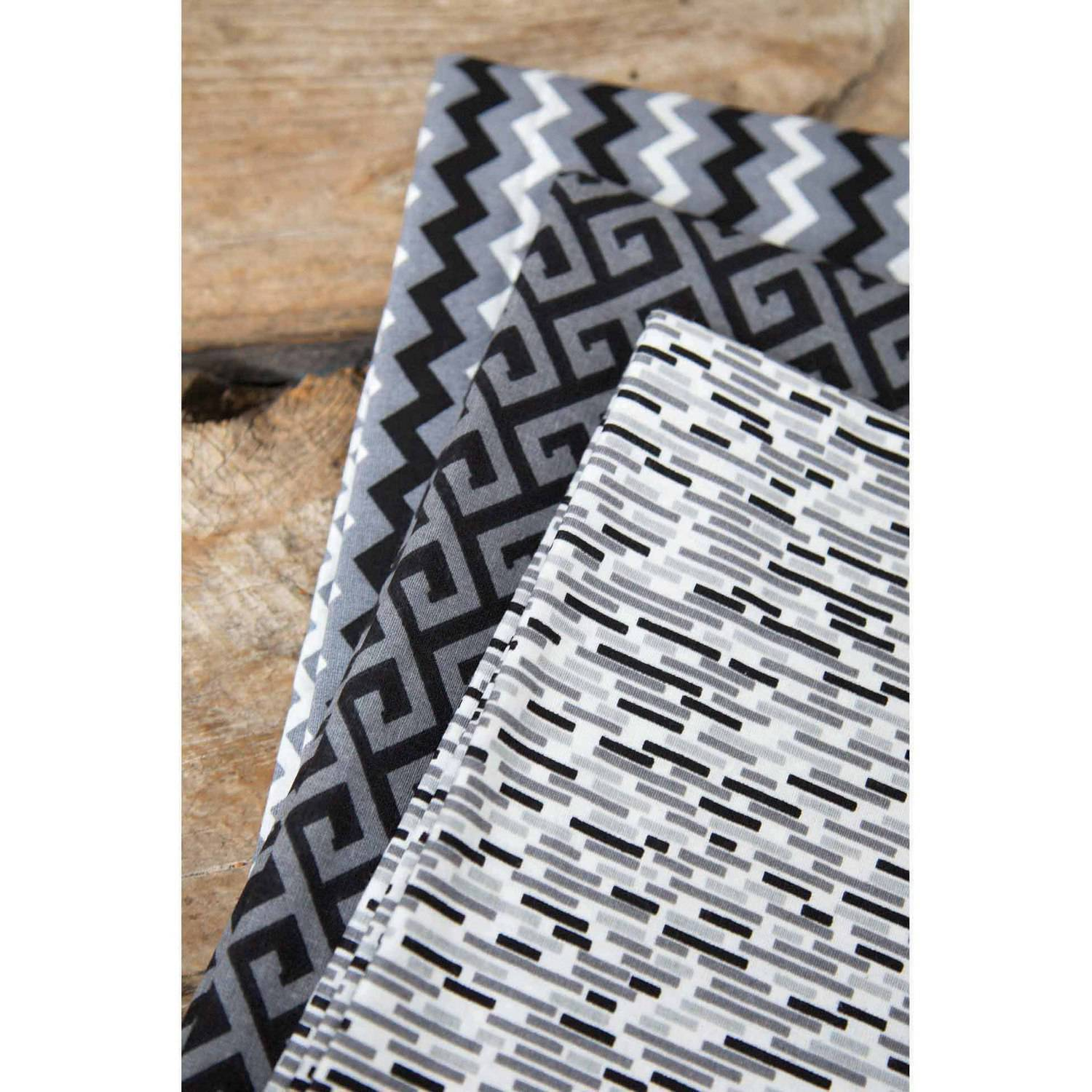 "Black Geo Vibe Printed Cotton Fabric Bundle, Tonal Chevron Black-Tonal Greek Key Black-Tonal Dash Black, 43/44"" Width, 2-yd Cuts"