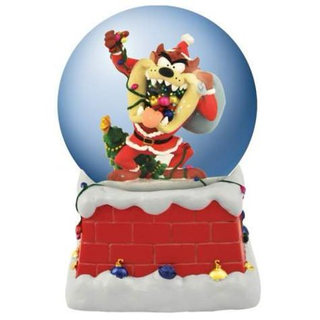 Santa Taz Tangled in Christmas Lights Musical Holiday Water Globe