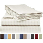 Deluxe Striped 1800 Prestige Soft and Comfortable Bed Sheets Set, King Cream