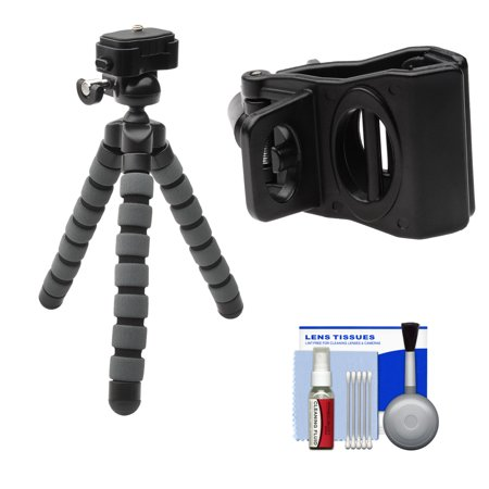Precision Design PD-T14 Flexible Compact Camera Mini Tripod with Smartphone Adapter + Cleaning Kit for iPhone + Android (Precision Compact)