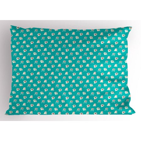 Ghost Pillow Sham, Scary Ghost Spirits Skulls and Bones on Turquoise Shade Halloween Party, Decorative Standard Size Printed Pillowcase, 26 X 20 Inches, Turquoise and Eggshell, by - Ghost Writing Book Spirit Halloween