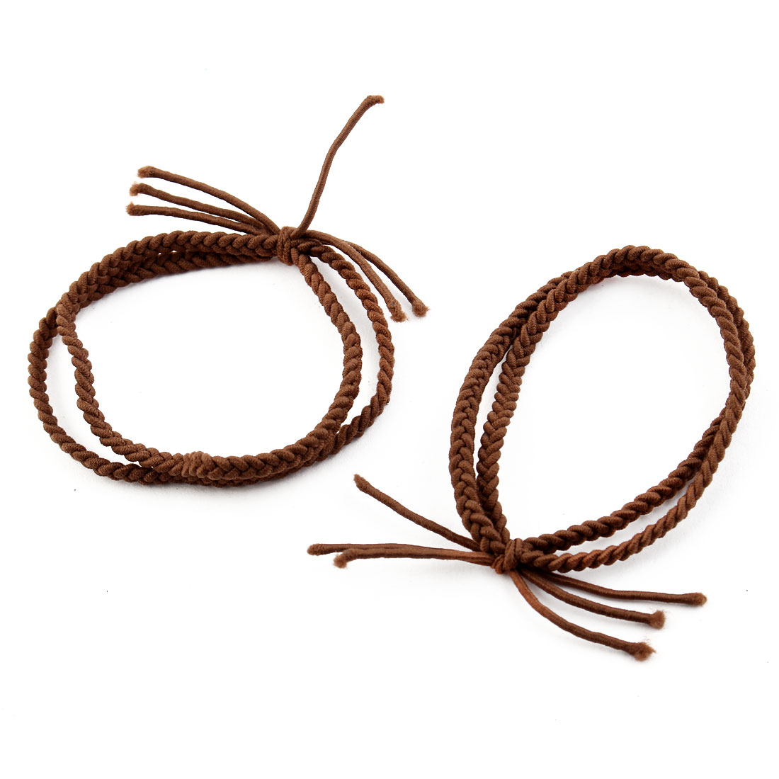 Girl Elastic Rubber Hair Tie Rope Ring Band Haristyle Maker Holder Brown 2 Pcs