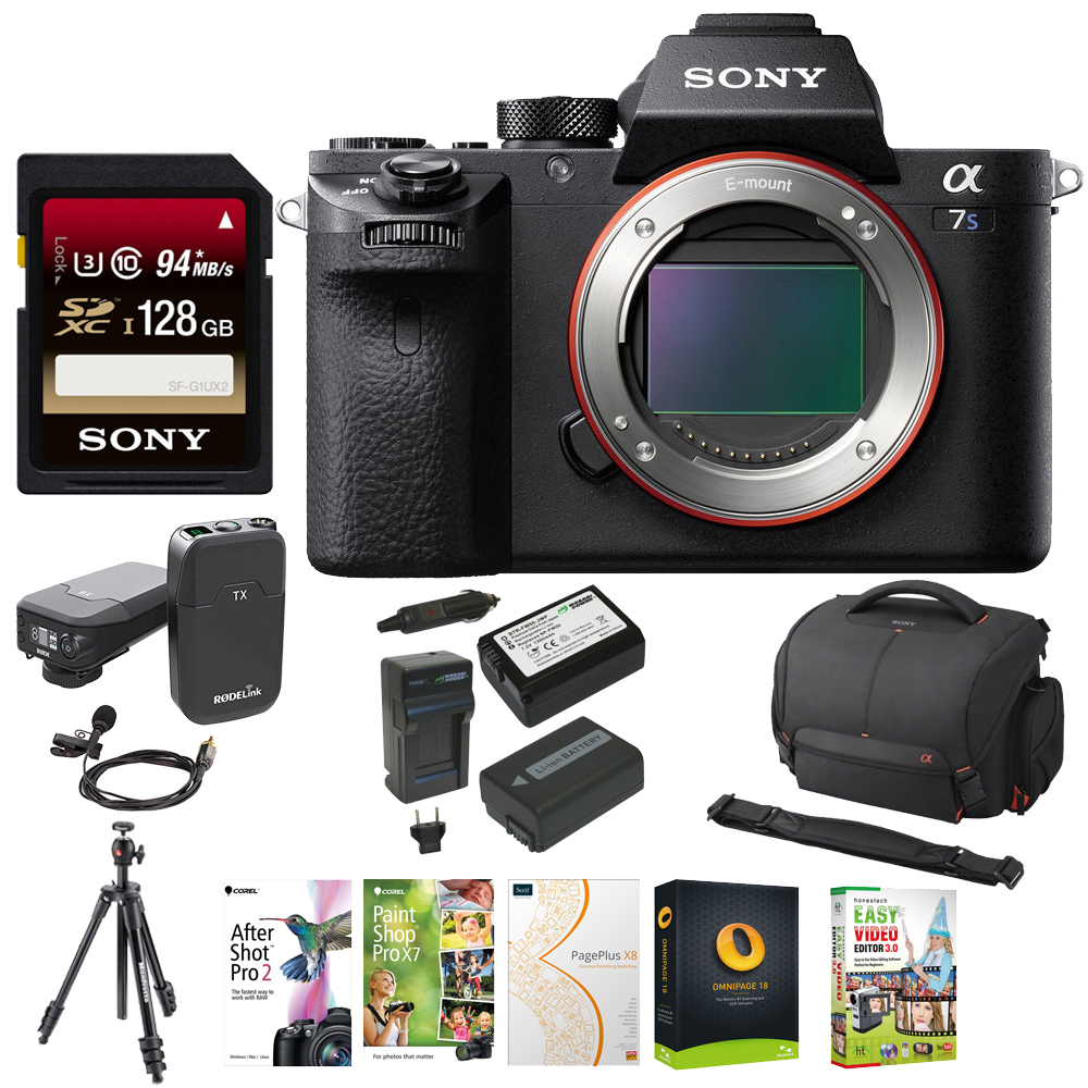 Sony Alpha a7SII Mirrorless Digital Camera Body + One 128GB Card + Tripod + RodeLink Wireless Filmmaker by Sony