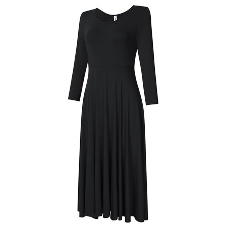 Leadingstar Women's Casual Long Sleeve A-Line Fit and Flare Midi Dress - image 2 of 8