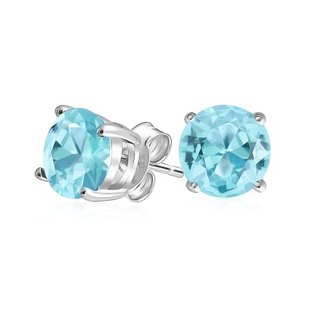 1Ct Aqua Blue Round Cubic Zirconia Brilliant Cut Solitaire AAA CZ Stud Earrings Sterling Silver Simulated Aquamarine 7MM
