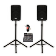 """Podium Pro PP802A Powered 8"""" PA DJ Speaker Pair with Mixer Stands and Cables"""