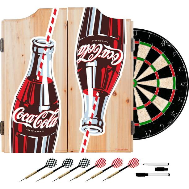Coke Dart Cabinet Set With Darts And Board Coca Cola Twin Bottles With Straw Bottle Art Walmart Com Walmart Com
