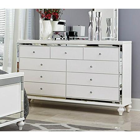 Ashland 9 Drawer Dresser In Modern White Embossed Alligator Mirror