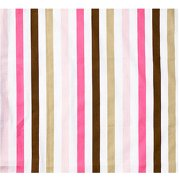 Bacati - Mod Stripes Fitted Crib Sheet 100% Cotton Percale,  Pink/Choc