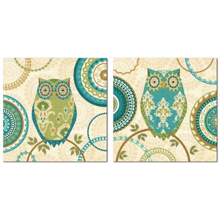 12x12 Patterned - Groovy Teal, Brown, and Green Decorative Patterned Owls by Veronique Charron; Two 12x12 Poster Prints
