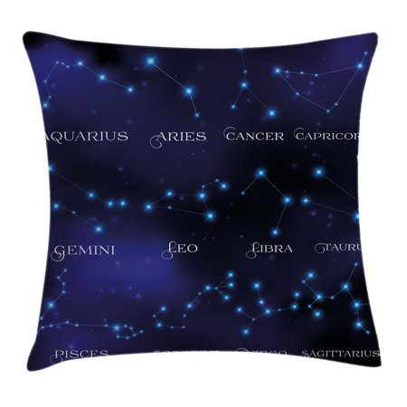 Constellation Throw Pillow Cushion Cover  Dark Night Sky Star Groups Of Zodiacal Circle Styled Letters  Decorative Square Accent Pillow Case  16 X 16 Inches  Dark Blue Light Blue Purple  By Ambesonne