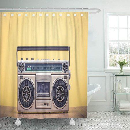 KSADK Retro Outdated Portable Stereo Boombox Radio Cassette Recorder from 80S Front Yellow Shower Curtain 66x72 inch - Retro Boombox