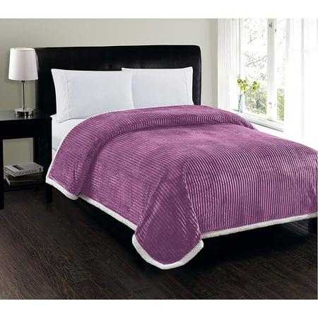 Elegant Comfort Best, Softest, Luxury Micro-Sherpa Blanket on Walmart! Heavy Weight Stripe Design Ultra Plush Blanket, Full/Queen,