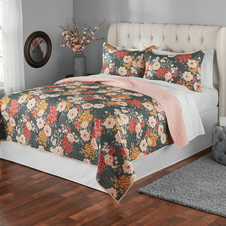 English Floral Quilt (Mainstays Grey Floral Full/Queen Quilt )