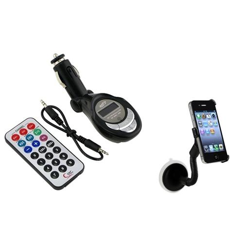 INSTEN FM Transmitter+Remote+Cable+Car Mount Holder Kit Stand Cradle For Apple iPhone 4 4S 4G
