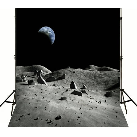 GreenDecor Polyester Fabric 5x7ft night sky Moon Land Space Backdrop Birthday party photo backdrop (Sky Backdrop)