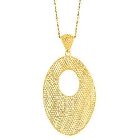 14 Karat Yellow Gold 25x19mm Mesh Swirl Necklace, 18 Inches