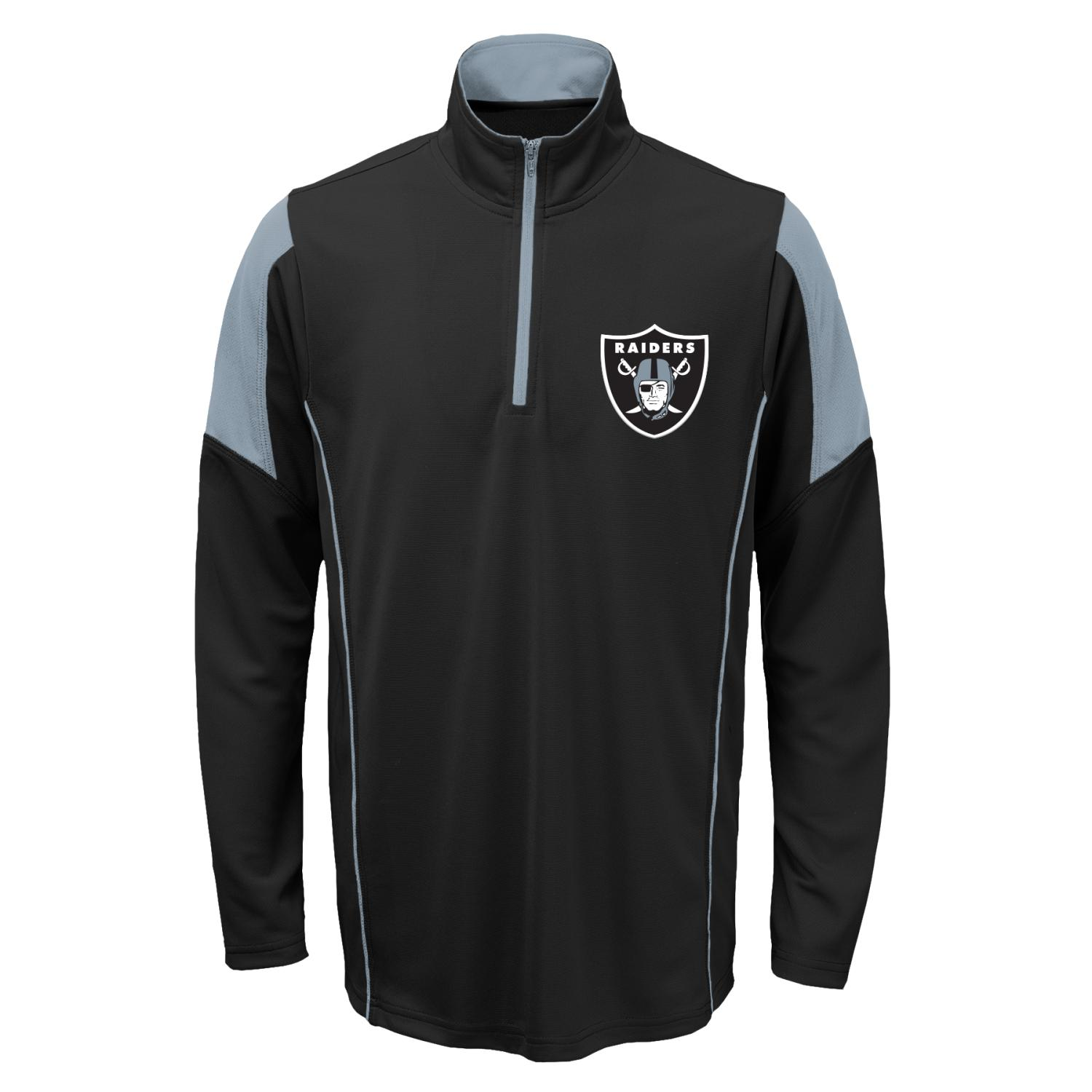 Oakland Raiders Youth NFL Lightweight 1/4 Zip Pullover Long Sleeve Shirt