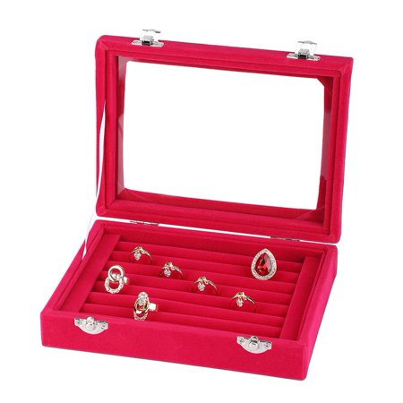 Rings 1 Box - Hilitand 1 pc Ring Storage Box Composite Board Lint Jewelry Rings Storage Box Display Case Holder Organizer(Black, Rose Red, Purple)
