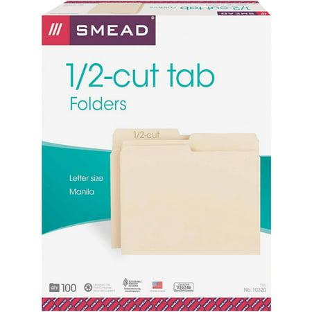 - Smead, SMD10320, 1/2 Cut Top Tab Manila File Folders, 100 / Box, Manila