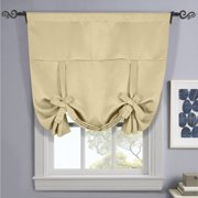 "Ava Blackout Weave Tie Up Shade With Rod Pockets Curtains for Small Window ( 46"" W X 63"" L) - Beige"