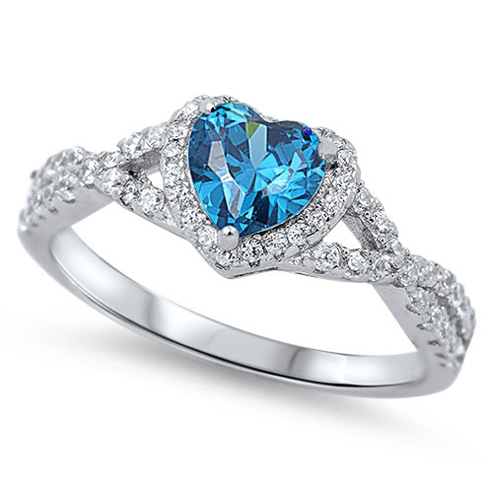 Heart Blue Simulated Topaz Halo Infinity Promise Ring ( Sizes 4 5 6 7 8 9 10 11 12 ) .925 Sterling Silver Rings by Sac Silver (Size 4)