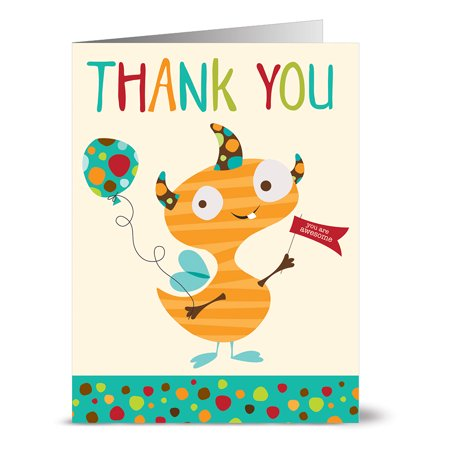24 Note Cards - Thank You Monster and Balloon - Blank Cards - Aqua Blue Ocean Envelopes Included - Thank You Balloon