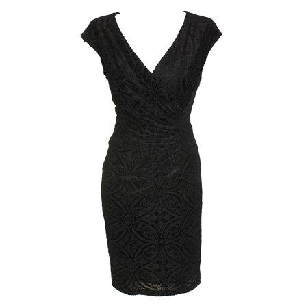 American Living Black Cap-Sleeve Flocked Velvet Ruched Sheath Dress 14