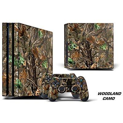 Designer Decal For Playstation 4 Pro System Plus Two  2  Decals For Ps4 Dualshock Controller   Woodland Camo