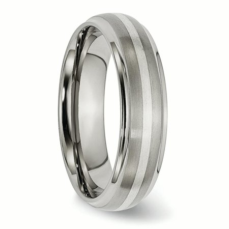 Titanium Ridged Edge 925 Sterling Silver Inlay 6mm Brushed/ Wedding Ring Band Size 7.00 Precious Metal Fine Jewelry Gifts For Women For Her - image 1 of 10