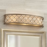 "Regency Hill Wall Light Golden Bronze Hardwired 25"" Wide Light Bar Fixture Jeweled Clear Crystal for Bathroom Vanity"