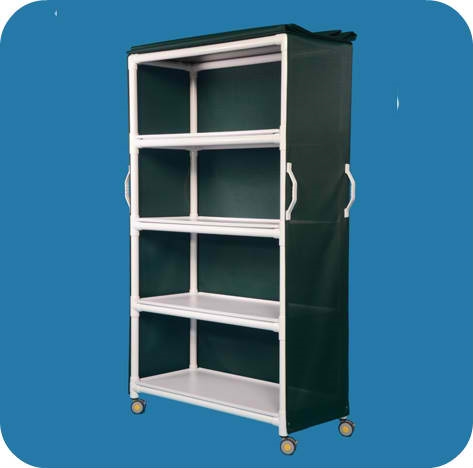 MRI Compatible Deluxe Linen Cart with Four Removable Shelves - MRILC464FGM - Forest Green Mesh Cover