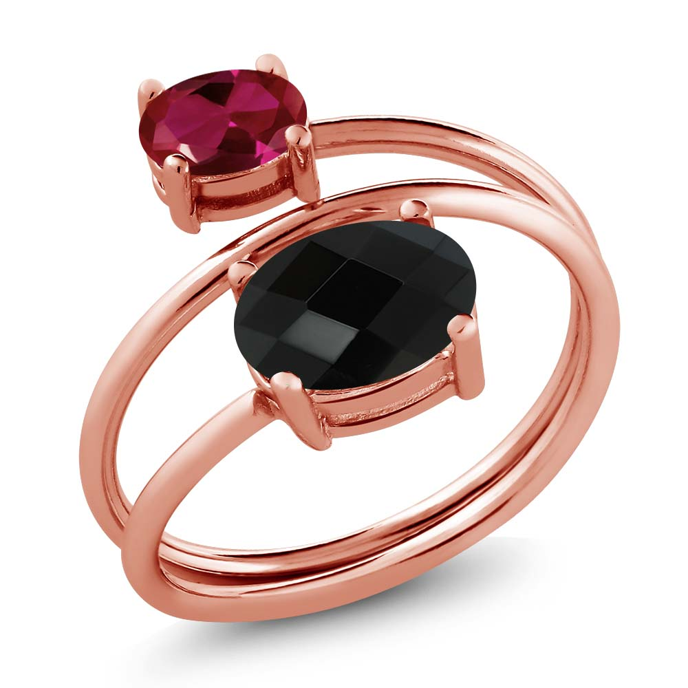 2.12 Ct Oval Checkerboard Black Onyx Red Created Ruby 18K Rose Gold Plated Silver Ring